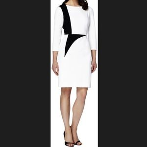Tahari Colorblock Sheath Dress Ivory White Black 6